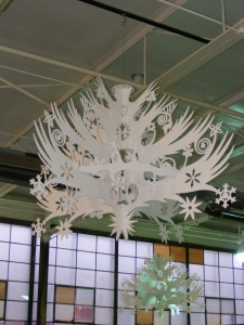 Snowflake chandeleir at the Dearborn Glas Academy holiday bazaar