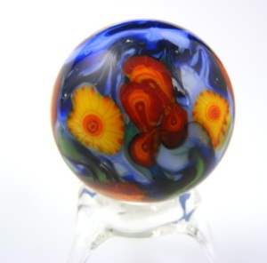 "soft glass Lampwork marble 1-1/4"" dia by me."